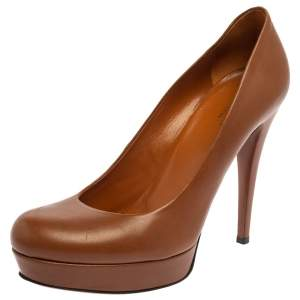 Gucci Brown Leather Betty Platform Pumps Size 37.5