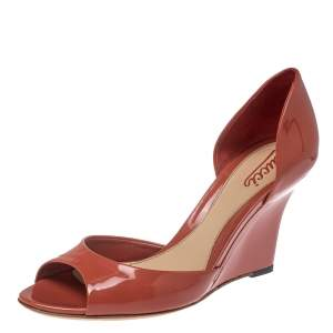 Gucci Orange Patent Leather Wedge Sandals Size 38.5