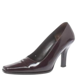 Gucci Vintage Burgundy Leather Slip On Pumps Size 36.5