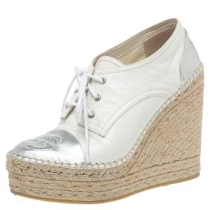 Gucci White/Silver Leather GG Logo Pilar Espadrille Wedges Size 36