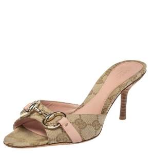 Gucci Beige/Pink GG Canvas New Hollywood Horsebit Slides Size 35.5