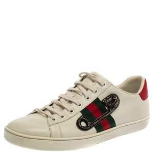 حذاء رياضي غوتشي برقبة منخفضة مزين بحافة نقشة جلد الثعبان نمط ويب أبيض مقاس 40