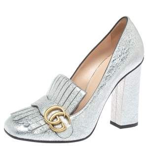 Gucci Metallic Silver Crinkled Leather GG Marmont Fringe Pumps Size 39