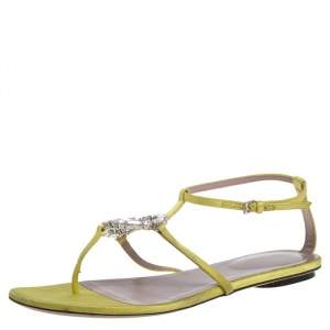 Gucci Yellow Satin GG Interlocking Crystal T Strap Flat Sandals Size 37