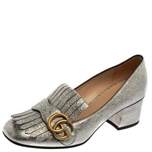 Gucci Metallic Silver Foil Textured Leather GG Marmont Fringe Detail Block Heel Pumps Size 37