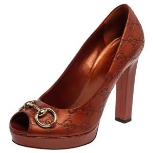 Gucci Brown GG Leather Horsebit Peep Toe Platform Pumps Size 39