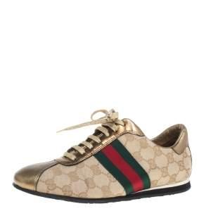 حذاء رياضي غوتشي برقبة منخفضة كانفاس جي جي وجلد ويب بعنق منخفض ذهبي / بيج مقاس 37.5