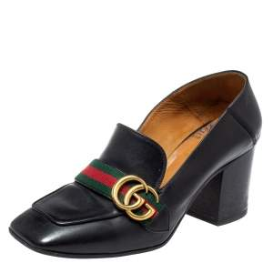 Gucci Black Leather GG Marmont Web Pumps Size 38