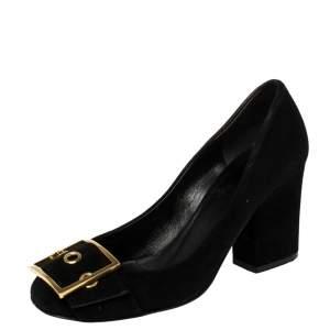 حذاء كعب عالى غوتشى كعب عريض تفاصيل إبزيم سويدى أسود مقاس 38