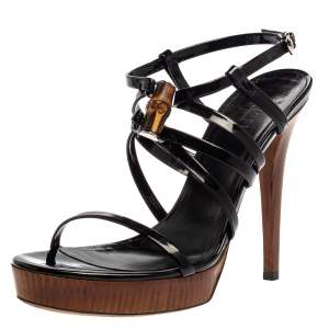 Gucci Black Patent Leather Bamboo Strappy Platform Sandals Size 37.5