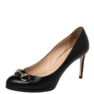 Gucci Black Leather Horsebit Pumps Size 37