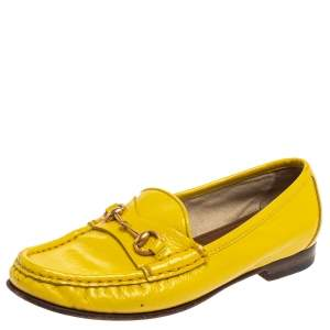 Gucci Yellow Patent Leather 1953 Horsebit Loafers Size 35.5