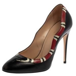 Gucci Black Leather Yoko Snake High Heel Pumps Size 38