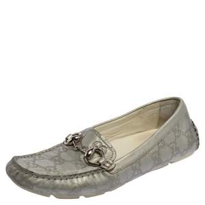 Gucci Silver Guccissima Leather Horsebit Driving Loafers Size 37