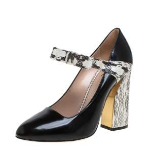 Gucci Black/ Beige Leather And Python  Nimue Mary Jane Pumps Size 39