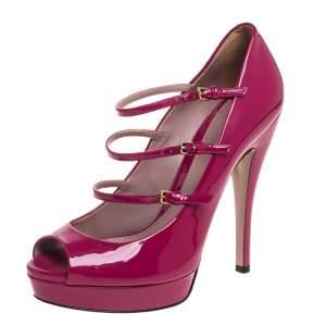 Gucci Pink Patent Leather Mary Jane Peep Toe Platform Pumps Size 39