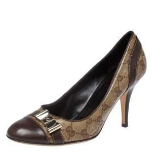 Gucci Brown GG Canvas And Leather Bow Cap Toe Pumps Size 39