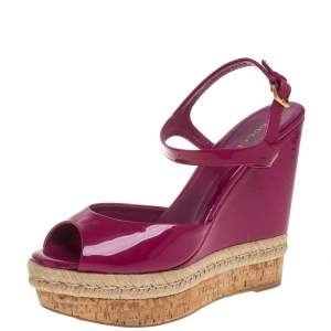 Gucci Pink Guccissima Patent Leather Cork Wedge Sandals Size 40