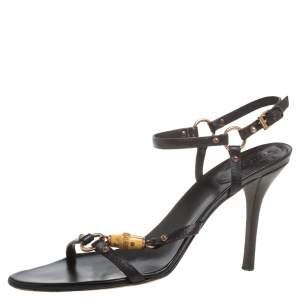 Gucci Black Leather Bamboo Tassel Open Toe Sandal Size 38.5