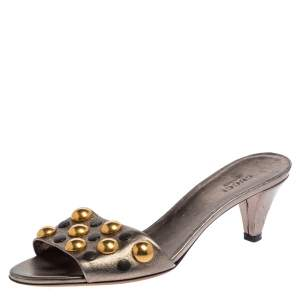 Gucci Metallic Leather Embellished Slide Sandal Size 37