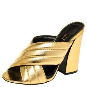 Gucci Metallic Gold Quilted Leather Webby Mules Sandals Size 37