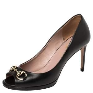 Gucci Black Leather Jolene Horsebit Peep Toe Pumps Size 35.5