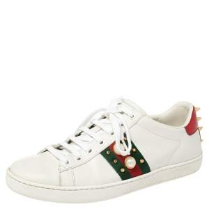 Gucci White Leather Ace Studded Sneakers Size 38