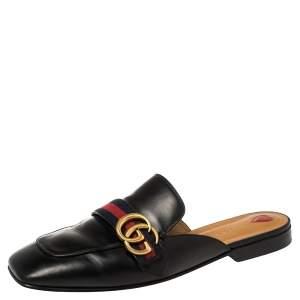 حذاء مولز غوتشى فلات شعار جى جى ويب جلد أسود مقاس 41