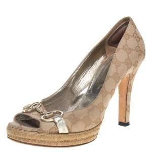 Gucci Beige Canvas Horsebit Peep Toe Platform  Pumps Size 39.5