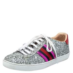 Gucci Silver Glitter And Leather Ace Web Low-top Sneakers Size 37