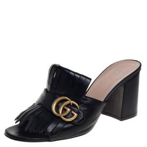 Gucci Black Leather GG Marmont Fringe Detail Open Toe Sandals Size 39