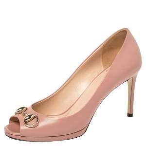 Gucci Nude Pink Leather Horsebit Peep Toe Pumps Size 36.5