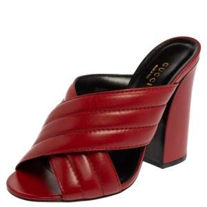 Gucci Red Quilted Leather Criss Cross Slide Sandals Size 38