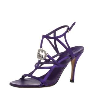 Gucci Purple Satin GG Cage Ankle Strap Sandals Size 37