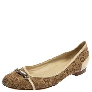 Gucci Cream/Brown Canvas And Leather Horsebit Ballet Flats Size 38