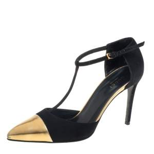 Gucci Black/Gold Suede And Leather Coline Cap Toe T Strap Pumps Size 36