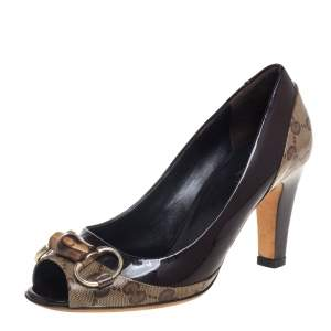 Gucci Brown/Beige GG Crystal Canvas And Patent Leather Bamboo Horsebit Pumps Size 35.5