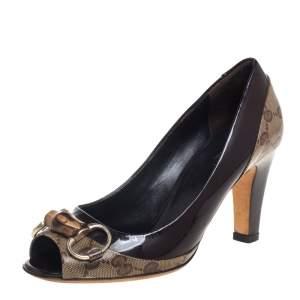 حذاء كعب عالي غوتشي بامبو هورسبيت جلد لامع وكانفاس كريستال جي جي بيج/بني مقاس 35.5