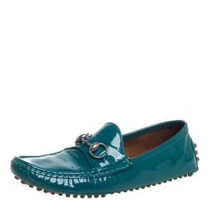 Gucci Blue Patent Leather Horsebit  Loafers Size 37.5