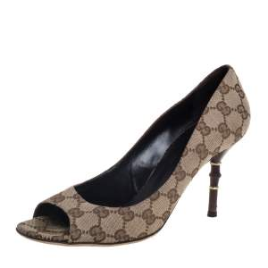 Gucci Brown/Beige GG Canvas Bamboo Heel Open Toe Pumps Size 38.5