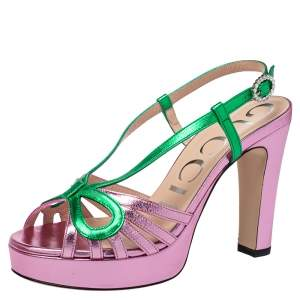 Gucci Metallic Pink/Green Leather Platform Slingback Sandals Size 36