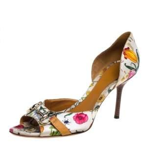Gucci Multicolor Floral Print Satin Horsebit D'orsay Open Toe Pumps Size 40