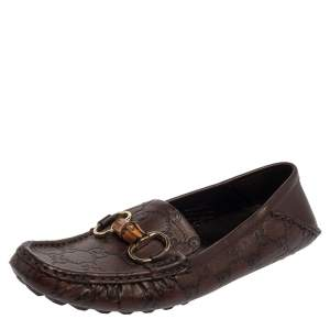 Gucci Brown Guccissima Leather Bamboo Horsebit Loafer Size 38