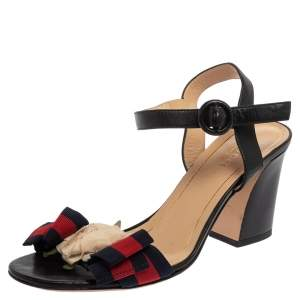 Gucci Multicolor Leather And Fabric Web Bow Rose Detail Sandals Size 36.5