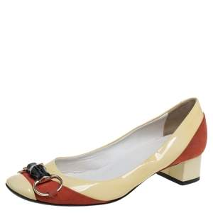 Gucci Yellow/Red Patent Leather And Suede Bamboo Horsebit Round Toe Pumps Size 37