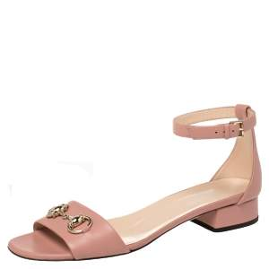 Gucci Pink Leather Horsebit Ankle Strap Sandals Size 38.5