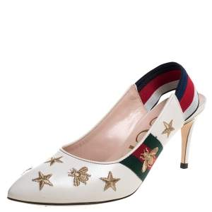 Gucci White Leather Sylvie Bees And Star Slingback Pumps Size 37