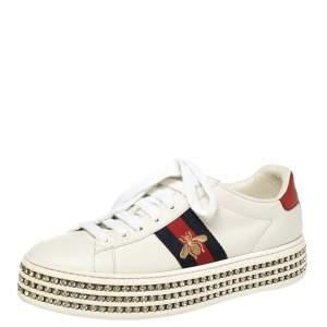 Gucci White Leather Ace Crystal Embellished Platform Sneakers Size 38