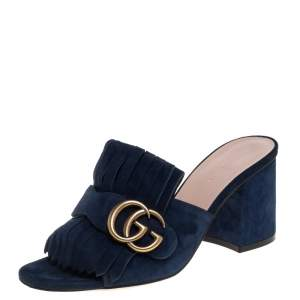 Gucci Navy Blue Suede GG Marmont Fringed Slide Sandals Size 35.5