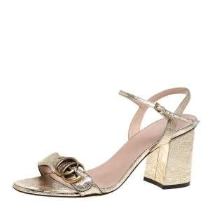 Gucci Metallic Gold Cracked Leather Marmont Sandals Size 39.5